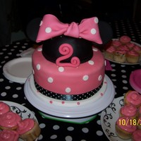 Minnie Mouse This was a Minnie Mouse cake I made for my daughter's 2nd Birthday. It was a vanilla cake with an Oreo Swiss Meringue Buttercream...