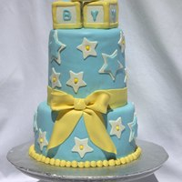Baby Boy Shower Cake Gumpaste Bow, Rice Crispy Blocks covered in Fondant