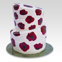 Painted Poppies Topsy Turvy Cake with hand painted poppies