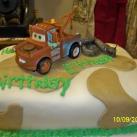 Tow Mater Birthday Cake This was made for a friends son who was turning 2. I had planned to do a color flow picture of Mater, but it crashed and burned as I was...