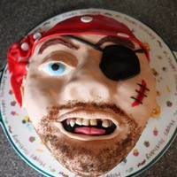 Pirate Cake A swarthy boatswain for a 6 year-old birthday party; vegan chocolate cake w/ choc frosting, MMF decorations.