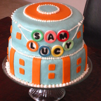 Twins' Cake Cake for the twins down the street turning one. The circles with their names match the birthday banner. Chocolate cake, top tier is frosted...