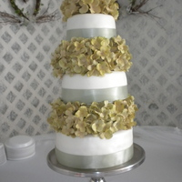Round Three Tier Wedding Cake My friend and I did this for our friends wedding. Three tier fondant covered yellow cake with white butter cream frosting. We sprayed the...
