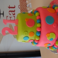 21St Birthday Fondant covered cake with gum paste decorations