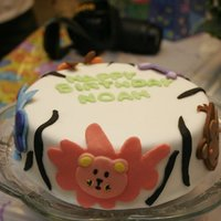 Animal Safari Cake   MMF over cake with MMF animals.