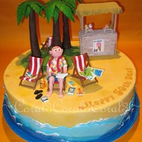 "Island 50Th  This is a 14"" (4"" high) chocolate mud cake with chocolate ganache, made for a man who is obsessed with taking holidays and..."