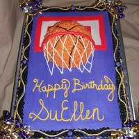 Suellen's Birthday Cake Thanks to lilmansmum for inspiration and permission to use her design on this basketball cake. My first time trying this type border, and I...