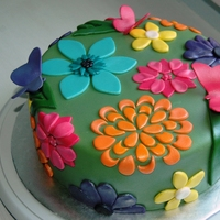 Floral Pattern Cake Made this cake for a charity auction. The inspiration came from my daughter's little spring dress. Butterflies are gumpaste, and the...