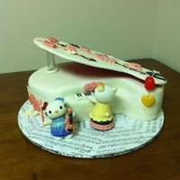 Piano/hello Kitty Cake Piano top cover is made out of cut out foam board covered with with white fondant with fondant details. Hello Kitty figures are all...