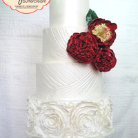 "Vera Wang Inspired Cake Satin fondant, embossed, rose ""fabric"" ruffles, red peonies"