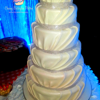 6 Tier Pearl White Pleated Fondant Wedding Cake With Bling Banding Border 6 tier pearl white pleated fondant wedding cake with bling banding border