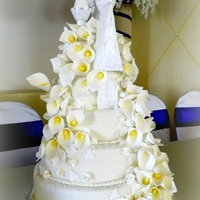 Castle And Calla Lillies Wedding Cake