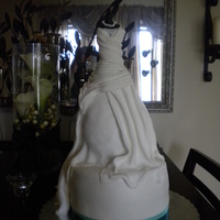 Bridal Gown Dress Tiered Bridal Gown Dress, Fondant overlay with buttercream, chocolate ganache and whipped mouse fillings
