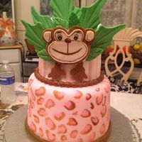Monkey Jungle Themed Baby Shower Cake Monkey jungle themed baby shower cake