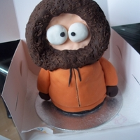 South Park Kenny cake. I was asked for a very small Kenny as the guy it was meant for doesn't like cake. The body is devil chocolate cake filled...