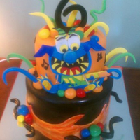 Monster Bash 8 and 6 inch cakes, covered in fondant and decorated with gumpaste accents. Matches a theme sold by oriental trading. TFL ;)