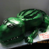 Alligator Cake hand carved chocolate cake, covered on fondant and airbrushed