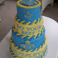 Cub Scout Blue & Gold Banquet Blue & Gold Banquet Cake. Biggest cake yet in my resume. Not perfect, but got rave reviews from the banquet attendees.