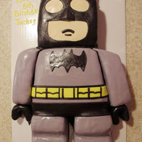 "Lego Batman Lego Batman cake for 6th birthday party. Carved using multiple 8"" squares. Everything is cake with the exception of the hands, which..."
