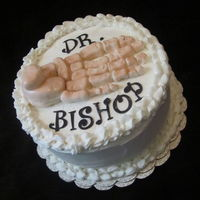 For My Foot Doctor cake is white cake with red raspberry filling.