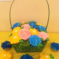 Flower Cupcakes In Basket