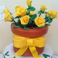 Flower Pot Cake With Yellow Fondant Roses Flower Pot Cake with Yellow Fondant Roses