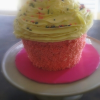 Cupcake Cake I used the wilton Big Cupcake Pan I also trimmed the cupcake some to level it out I used the Star tip for the pink cupcake liner and the 1M...
