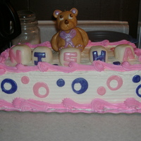 First Birthday Cake   Teddy and blocks made with rice crispies and fondant.