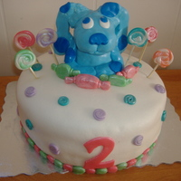 Blues Clues Cake For A 2 Year Old all decorations are fondant and dusted with luster dust.