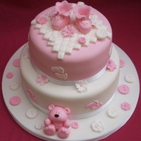 Pretty Pink Baby Shower Cake with Modelled booties, teddy, buttons & flowers
