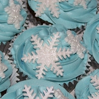 Frosty Cupcakes Devils food cupcakes with pale blue vanilla buttercream & glistening fondant snowflakes