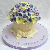 Giant Cupcake Decorated To Look Like A Hydrangea Plant With Fondant Bow For A Friends Mums 70Th Birthday X Giant Cupcake decorated to look like a Hydrangea plant, with fondant bow for a friends Mum's 70th Birthday x
