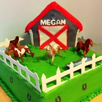Horse Farm Cake For a little horse lover! Barn is the wilton house pan and the field is a 12in square. All yellow cake and buttercream. Fence is gumpaste....
