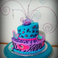 Sweet 16 Zebra/cheetah Cake Sweet 16 purple teal zebra/cheetah Cake, gumpaste decor