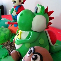 Mario Cake! 3d Mario Yoshi made with Rice Krispy Treats and fondant