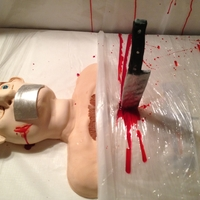 Dexter Kill-Room Dexter is my favorite show so for my 30th birthday, I made a Dexter kill-room cake. Body and head are cake. Legs and feet are cereal treats...