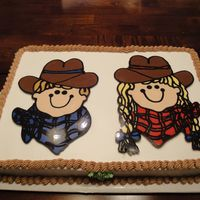 "Boy And Girl ""cowboys"" My first chocolate transfer cake."