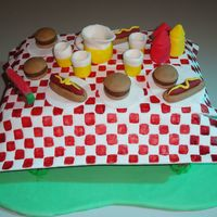 Picnic Table Cake This was my first try at fondant covered cakes (last summer, 2010). It ignited a sleeping passion for decorating cakes!