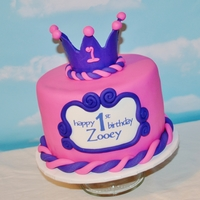 Pink And Purple Princess First birthday cake