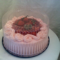 "Strawberry Cake-Cheese Cake 10"" Double layer Strawbery flavored yellow cake with a 2'' middle strawbery cheese cake with filling.. Yummy"