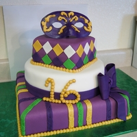 Mardi Gras Sweet 16   Mardi Gras cake for Sweet 16 birthday.