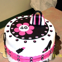 40Th Birthday Cake   Pink, black and white girlie cake