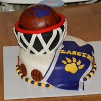 Basketball Cake For Lassen High Purple and gold basketball cake, First time carving a cake.