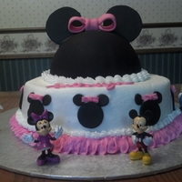 Minnie Mouse   Butter cream except for the head. The head is black fondant. White cake filled with raspberry.