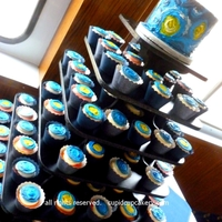 "Van Gogh Starry Night Cupcakes The bride asked for an interpretation of Van Gogh's famous painting, ""Starry Night"" on both her little cake and each wedding..."