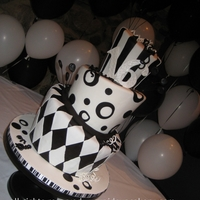 Black And White Topsy Turvy Cake birthday cake for a 16 year old