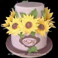 Sunflower Cake Cake made for a baby shower, with a monogram of the baby to be's initials.
