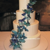 Blue Butterfly Wedding Cake 4 tiered cake to serve 125. Each tier had alternating layers of vanilla and chocolate cakes, filled with vanilla swiss meringue buttercream...