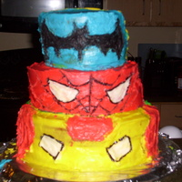 Iron Man Spiderman And Batman All frosting. No fondant....and I just got out of the hospital....I was pretty tired and done when I finished.