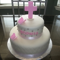 Baptism Cake Tiered cake in Rolled Fondant